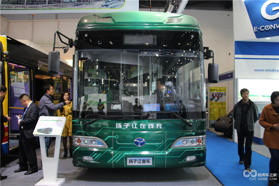 2015节能与新能源成果展 扬子江纯电动在线充城市客车
